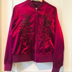 Torrid Rosy Mauve Embroidered Bomber Jacket Satin